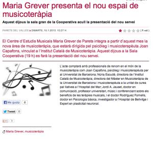 Contrapunt Inaguració Àrea de Musicoteràpia Centre d'Estudis Musicals María Grever