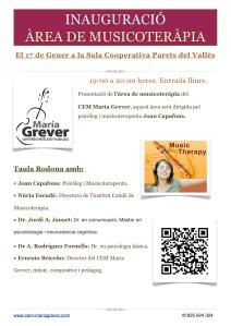 Flyer acte de presentació àrea musicoteràpia CEM María Grever